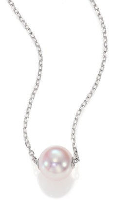 Mikimoto 8MM White Cultured Akoya Pearl & 18K White Gold Pendant Necklace