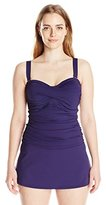 Anne Cole Women's Plus-Size Twist-Front Shirred Dress One-Piece Swimsuit