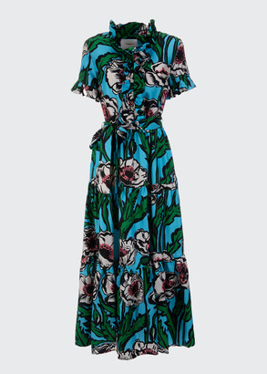 La DoubleJ Long & Sassy Floral Ruffle Button-Front Maxi Dress