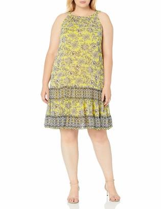 MSK Women's Plus Size Woven Halter Neck Dress with Tiered Hem