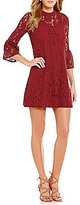 Sugar Lips Sugarlips Mock Neck Long Sleeve Solid Lace Dress