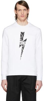 Neil Barrett White Graffiti Thunder Sweatshirt