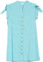 London Times Tie Cap Sleeve Button Down Shirtdress