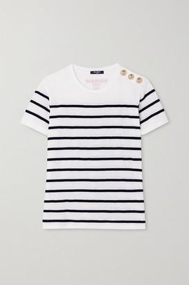 Balmain Flocked Striped Cotton T-shirt - White