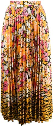 Saloni Floral Print Pleated Skirt