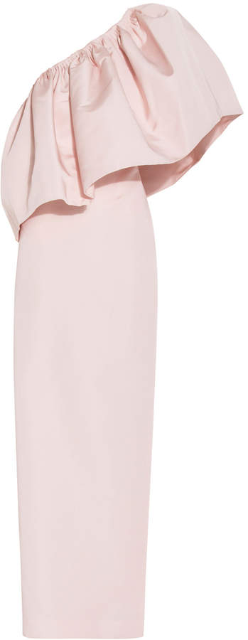Christian Siriano One Shoulder Flounce Gown