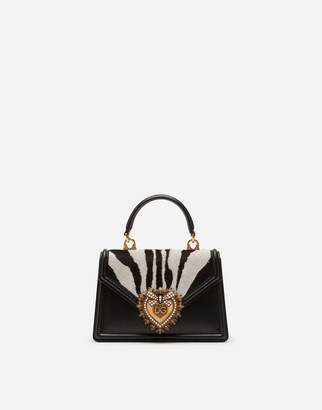 Dolce & Gabbana Small Devotion Bag In Pony-Style Material With Zebra Print