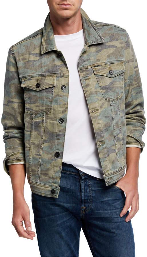 7 For All Mankind Men's Camo-Print Trucker Jacket