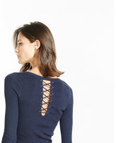 Express ribbed lace-up back crew neck sweater