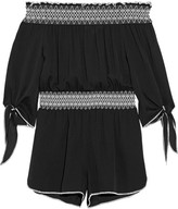Rachel Zoe Off-the-shoulder Embroidered Silk-crepe Playsuit - Black