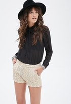 Forever 21 Abstract-Embroidered Glitter Shorts