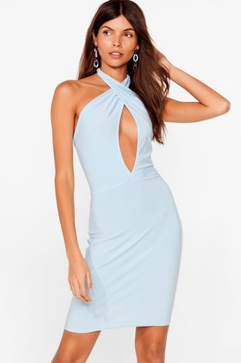 Nasty Gal Womens Cut-Out of Our Way Halter Mini Dress - Cornflower