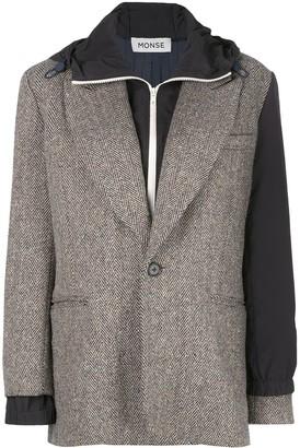 Monse Herringbone Layered Hooded Blazer
