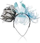 Albertus Swanepoel Women's 10th Anniversary Recyled Flower Magpie Headband-Black, White, Blue