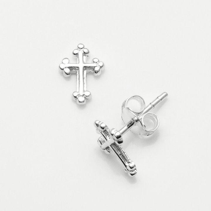 Silver Cross Itsy bitsy sterling stud earrings