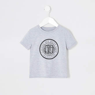 River Island Mini boys grey 'Living my best life' T-shirt