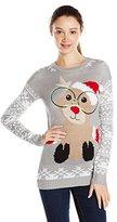 Derek Heart Juniors' Reindeer Jacquard Tunic Pullover Ugly Christmas Sweater