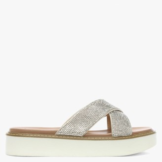 Df By Daniel Prospect Silver Diamante Cross Over Mules