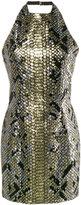 Balmain python-effect sequinned halter neck dress - women - Cotton/Polyester/Viscose - 38