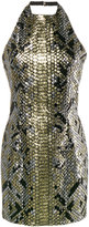 Balmain python-effect sequinned halter neck dress