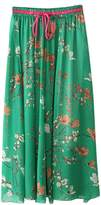 FEOYA Ladies Flowy Long Boho Floral High Waisted Full Length Chiffon Maxi Skirt