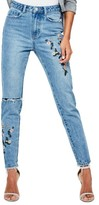 Missguided Women's Riot Ripped High Waist Embroidered Jeans