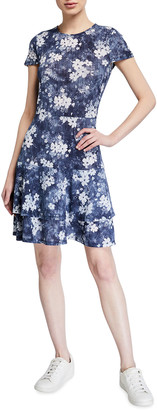 MICHAEL Michael Kors Bleached Flower Print Tiered Dress