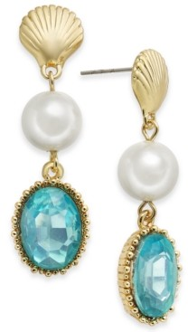 Charter Club Gold-Tone Shell, Imitation Pearl & Stone Linear Drop Earrings, Created for Macy's