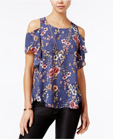 Amy Byer Juniors' Printed Cold-Shoulder Top with Necklace