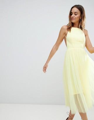 Asos DESIGN premium scuba pinny midi tulle dress