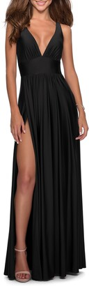 La Femme Sleeveless Plunge Neck Gown