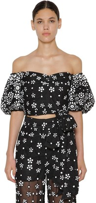 Self-Portrait Floral Sequin Puff Sleeve Cropped Top