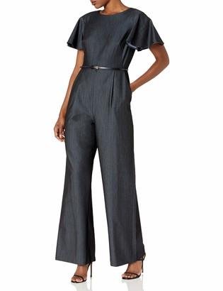 Calvin Klein Women's Short Flutter Sleeved Belted Jumpsuit