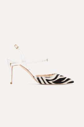 Jennifer Chamandi Vittorio 85 Zebra-print Calf Hair And Patent-leather Slingback Pumps - Zebra print