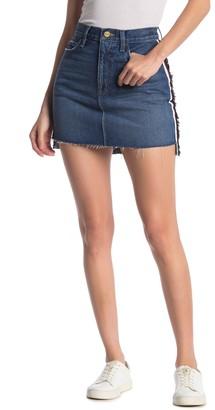 Frame Raw Stagger Hem Side Stripe Mini Skirt