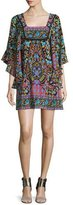 Nanette Lepore Flutter-Sleeve Mixed-Print Mini Dress, Black