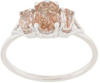 Natalie Marie 14kt white gold Precious Trio Oval Wrap ring
