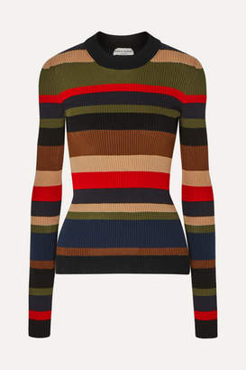 Sonia Rykiel Striped Ribbed Cotton And Cashmere-blend Sweater - Army green