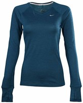 Nike Women's Dri-Fit Wool V-Neck Running Shirt-Green-XS