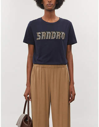 Sandro Logo-embroidered cotton-jersey T-shirt