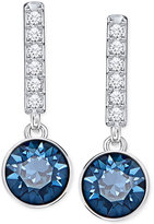 Swarovski Silver-Tone Blue Crystal and pavé Linear Drop Earrings