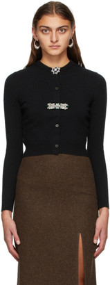 Miu Miu Black Cashmere Crystal Brooches Cardigan