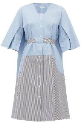 Palmer Harding Palmer//harding - Manon Belted Cotton Shirt Dress - Womens - Blue Multi