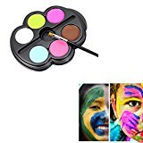 Saebye Face Painting Kit- Safe Non Toxic 6 Vibrant Color Palette Ideal for Kids, Parties, Body Paint, Halloween, Theme Parties, Cosplay and Christmas (Type 2)