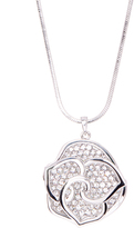 Love Rocks Crystal & Silvertone Flower Pendant Necklace