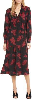 BA&SH Bel Split Neck Long Sleeve Midi Dress