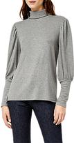 Warehouse Mutton Sleeve Roll Neck Polo Top, Dark Grey