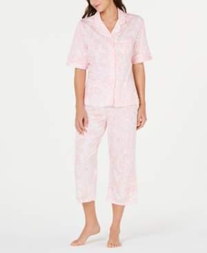 Miss Elaine Paisley-Print Short-Sleeve Top and Cropped Pajama Pants Set