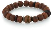 Mr. Lowe Men's Wood Bead Bracelet w/ Horn, Size M