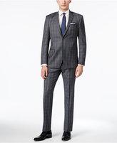 DKNY Men's Slim-Fit Gray/Blue Plaid Suit